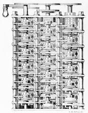 Engraving of Charles Babbage's difference engine