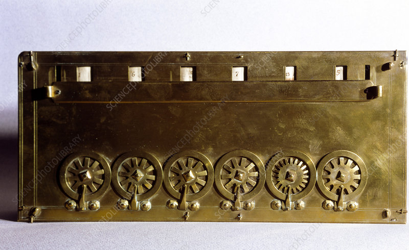 A pascaline,a mechanical calculating machine