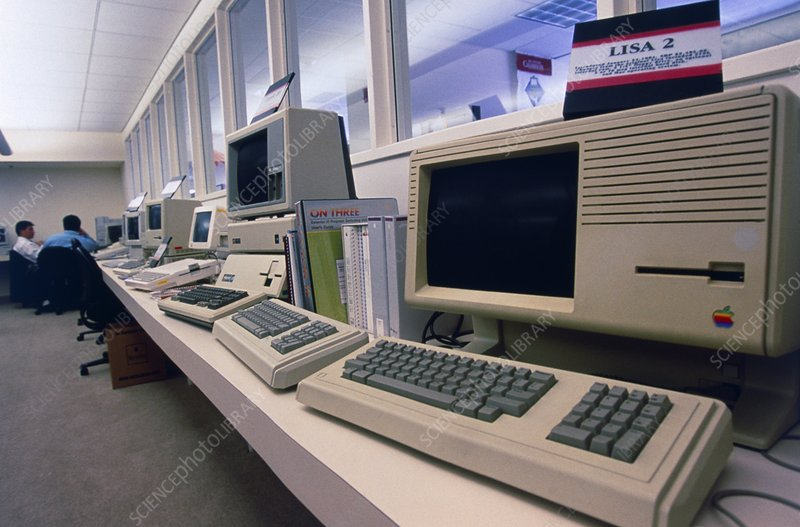 Row of assorted historical apple computers