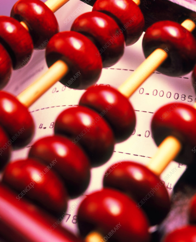 View of an abacus on a computer printout