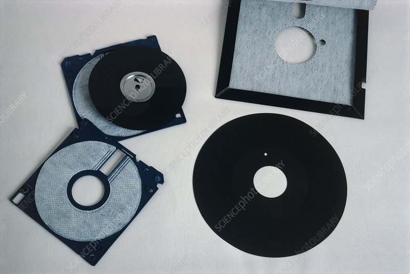 Two sizes of floppy disk, with covers removed