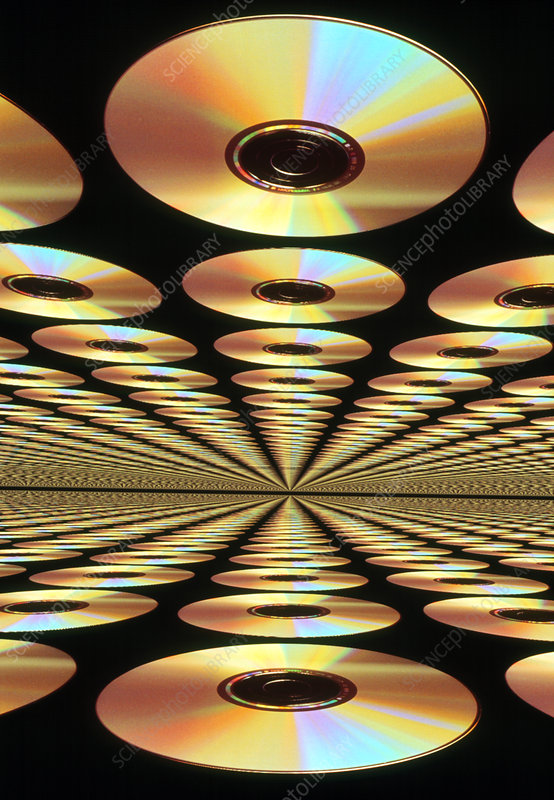 Computer artwork of multiple CD-ROM discs