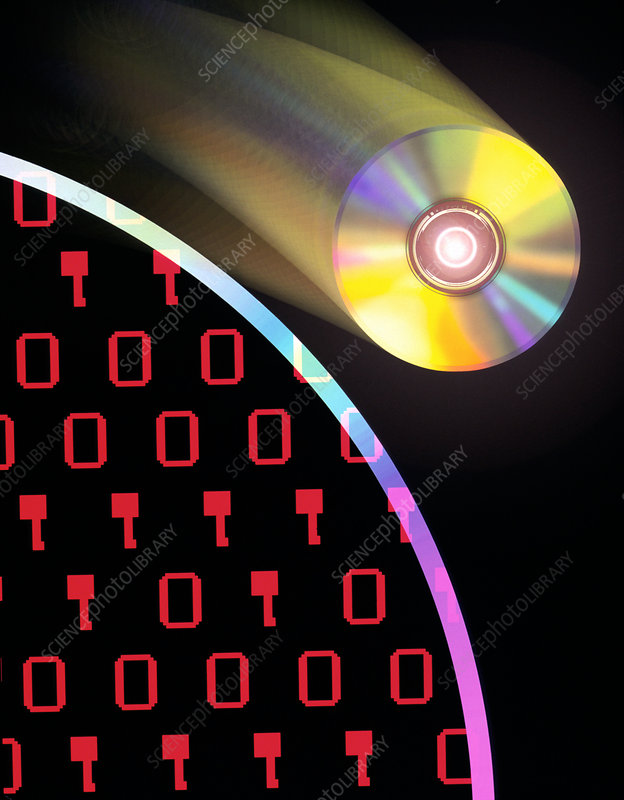 Computer art of compact disks and binary digits