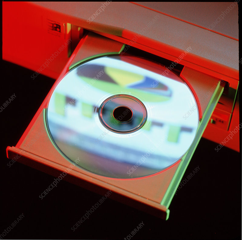 Compact disc in a computer CD-ROM disc drive