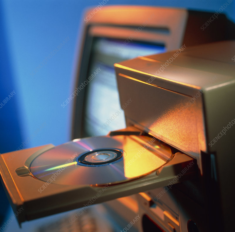 View of computer compact disc in a drive
