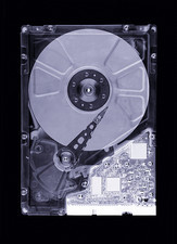 Computer hard disk, simulated X-ray