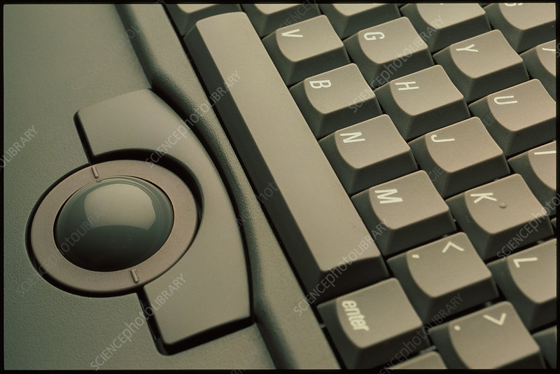 Trackball and keyboard of Apple Powerbook computer