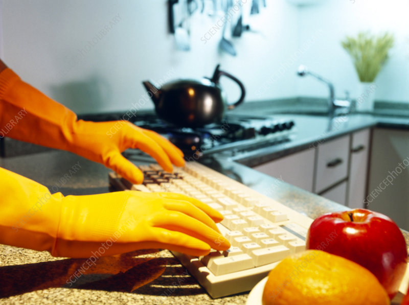 Gloved hands using computer keyboard in a kitchen