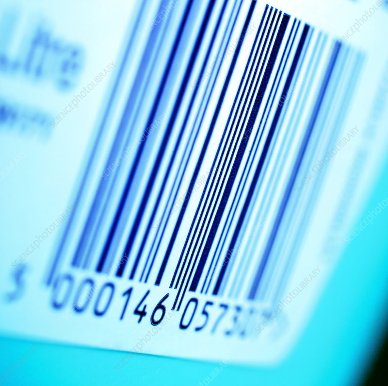 View of a bar code label