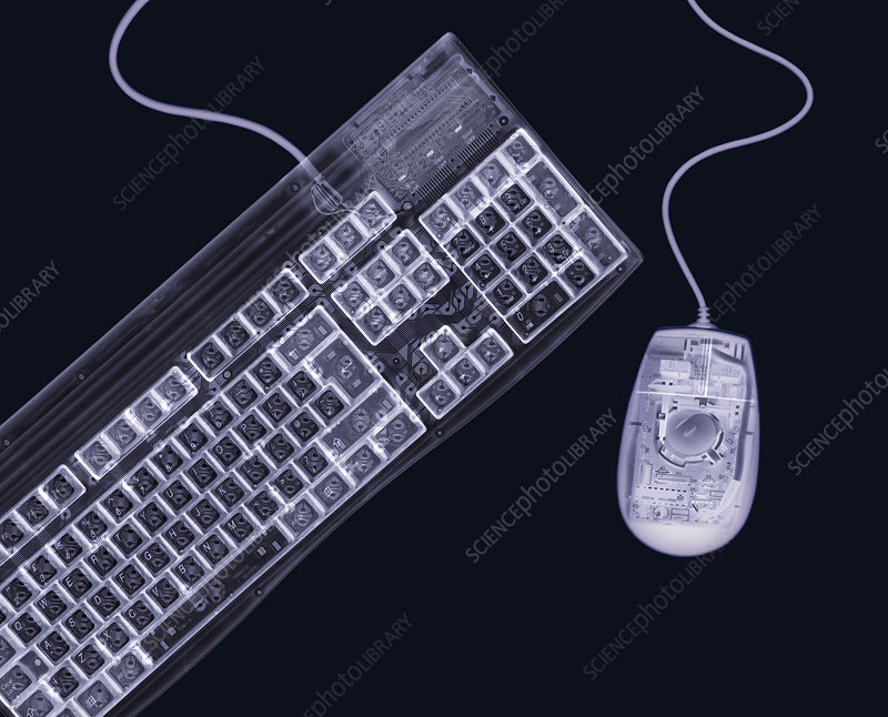 Keyboard and mouse, simulated X-ray