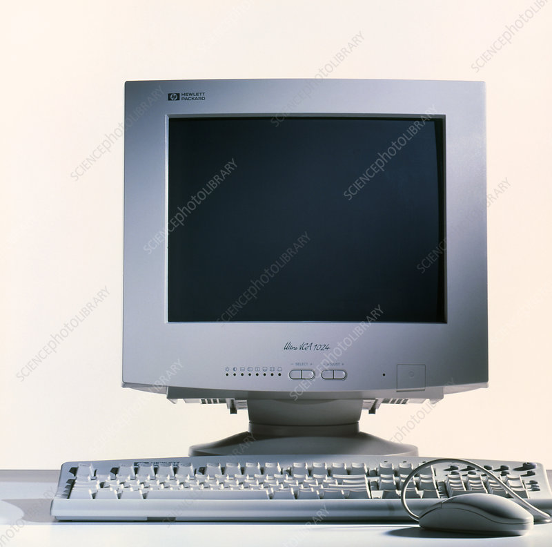 Computer monitor, keyboard and mouse