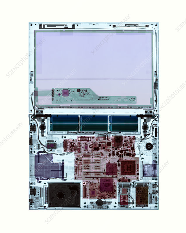 Laptop, coloured X-ray