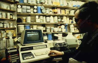 Pet commodore business computer in a pharmacy