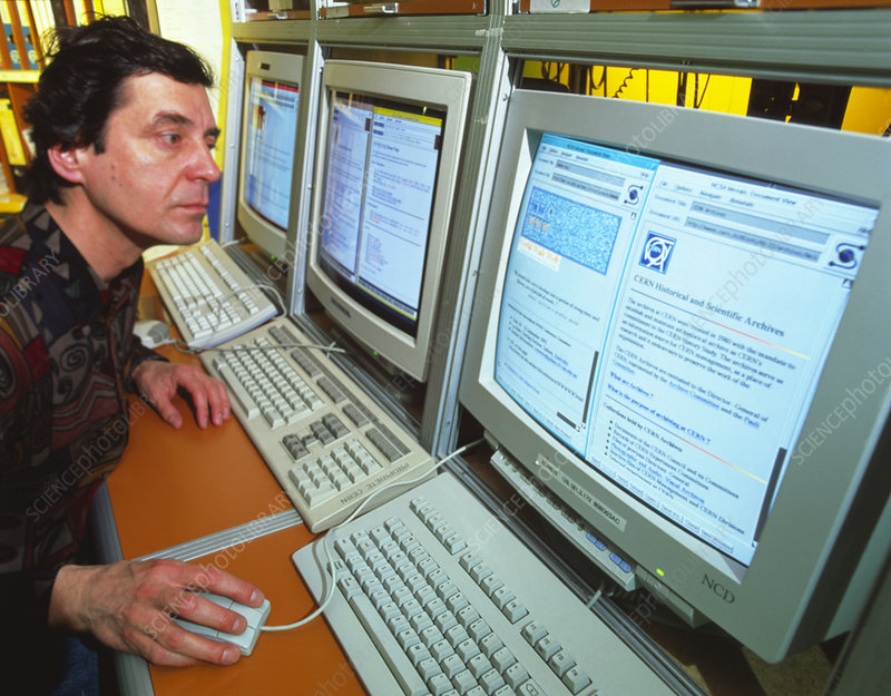 Computer scientist with WWW pages, CERN