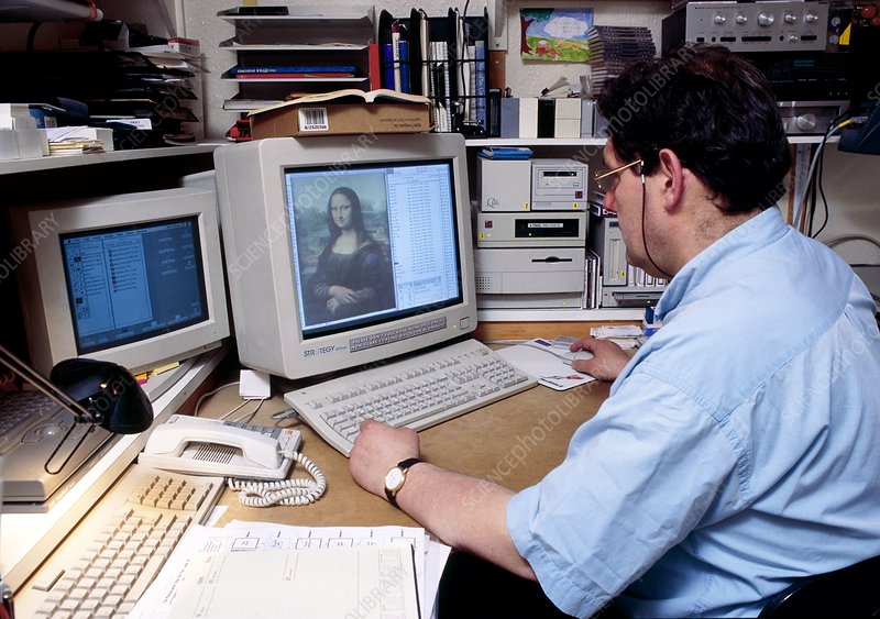 Business man sits at a computer, viewing Mona Lisa