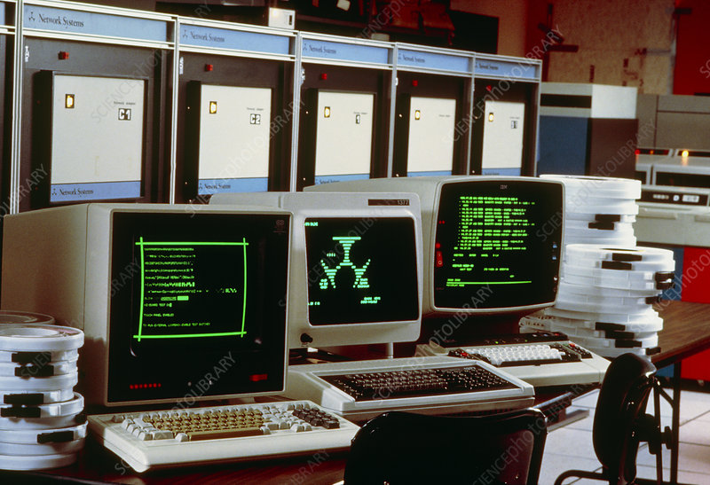 Mainframe computer terminals - Stock Image T450/0116 - Science Photo ...