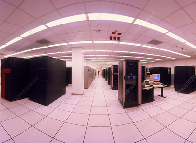 Fish-eye lens view of NERSC's main computing room