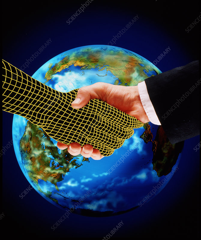 Human computer handshake over the Earth.