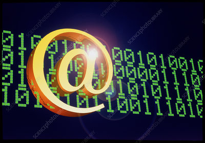 Symbol @ & binary code to represent E-mail