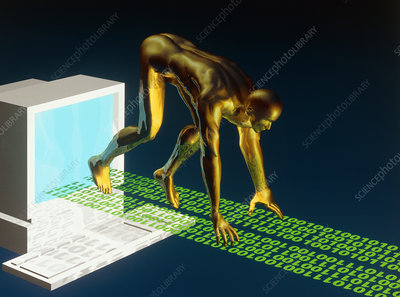Computer artwork of the internet as a sprinter