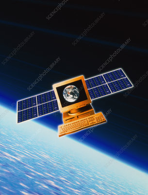 Abstract view of an internet computer as satellite