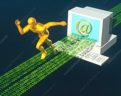 Computer artwork of e-mail as a sprinter