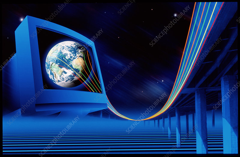 Artwork of information superhighway from Earth