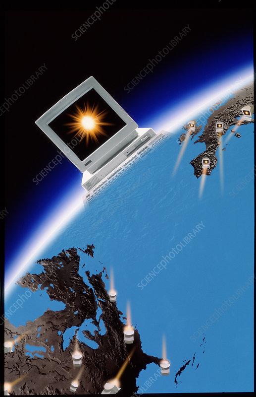Computer artwork of global computer communications