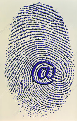 Artwork of e-mail address '@' sign & a fingerprint