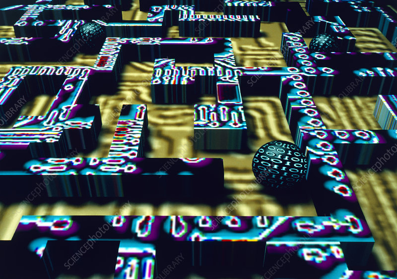 Artwork of digital globes in circuit board maze
