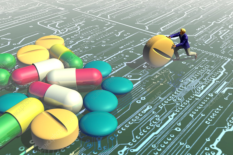 Pills on a computer landscape