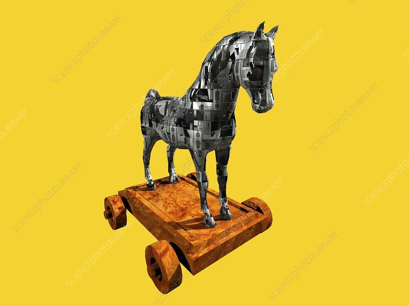 Trojan horse, computer artwork - Stock Image T465/0309 ...