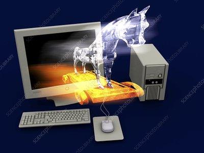 Trojan horse, computer artwork