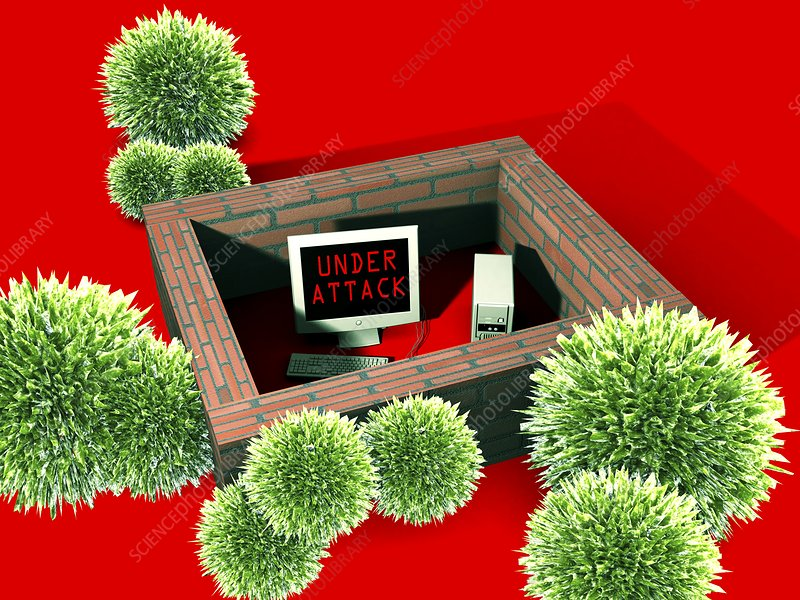 Computer virus attack, computer artwork