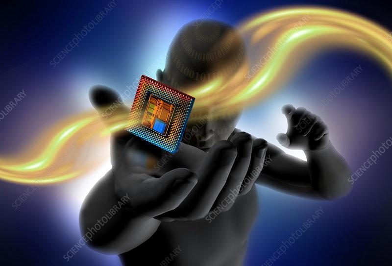 Digital Man Holding a Computer Chip