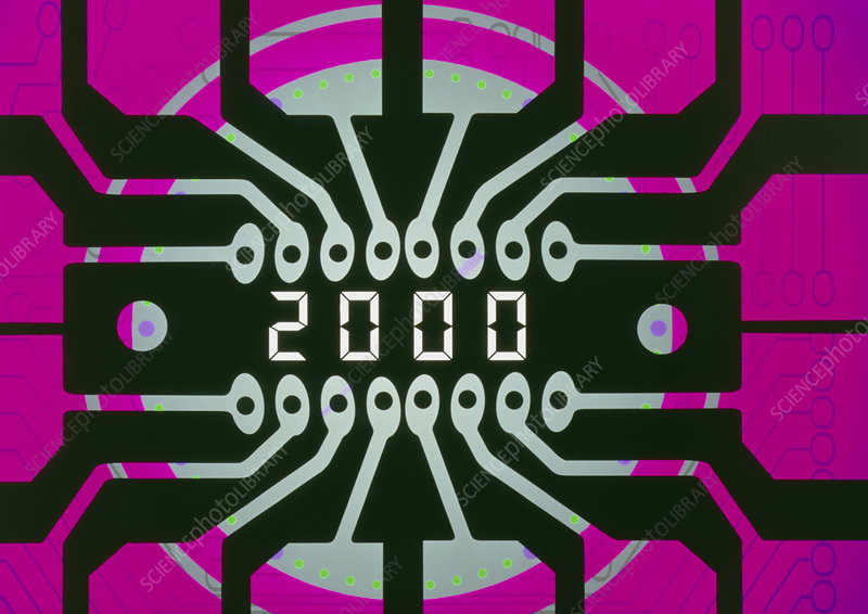 Computer artwork of circuit with millennium date