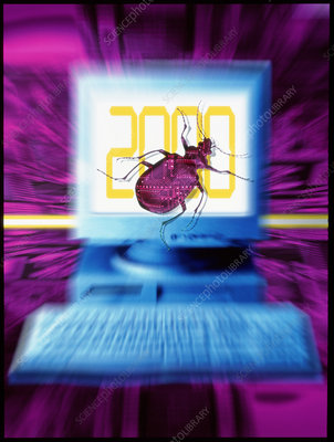 Artwork of millennium bug with beetle on computer
