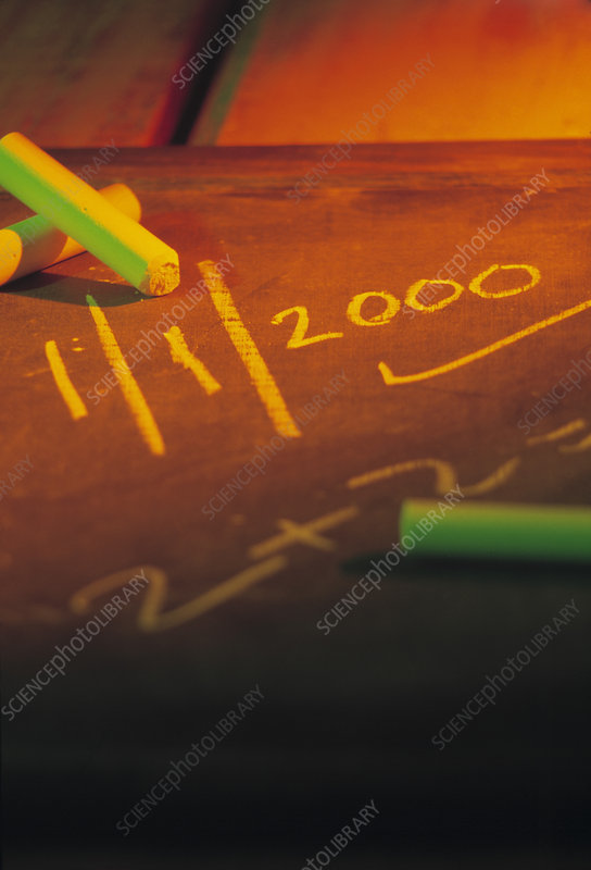 Blackboard with the date 1/1/2000 and sum on it