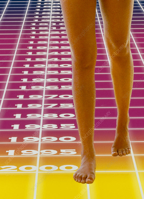 Computer abstract of woman's legs and time grid