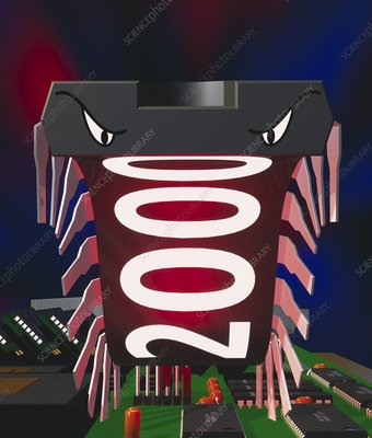Computer art of a millennium bug as a microchip