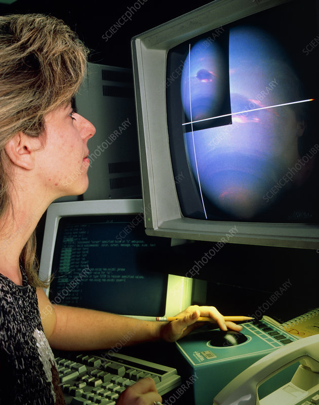 Woman using image processing data from Voyage 11