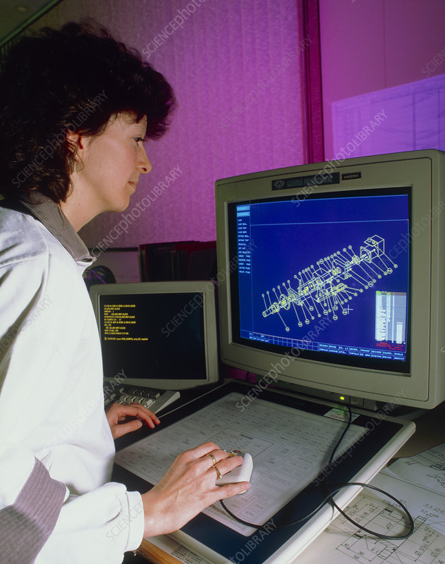 Engineer using CAD package at CERN