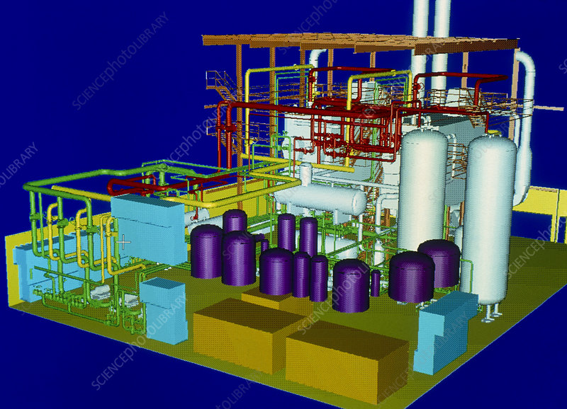 Computer graphic of an electricity power plant