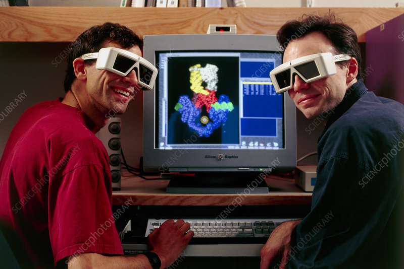 Researchers in 3-D glasses for molecular modelling
