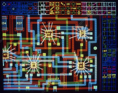 Computer design of multi-layered hybrid circuit