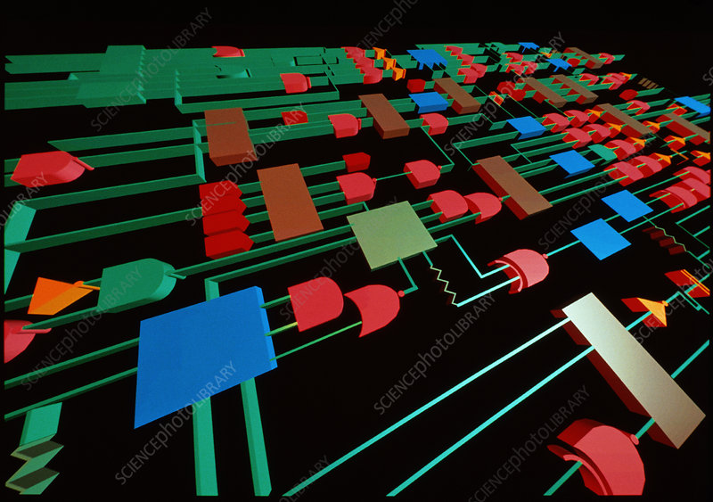 Computer graphic image of electronic circuit