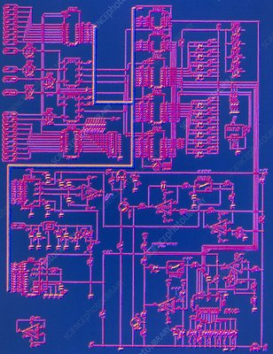 Computer graphic of an electronic circuit diagram