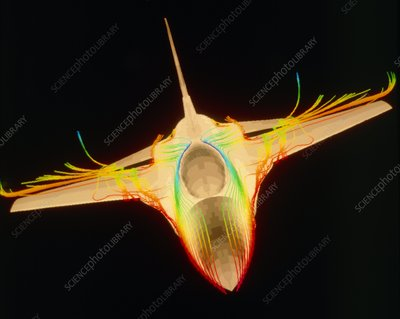 Supercomputer image of F-16 jet fighter