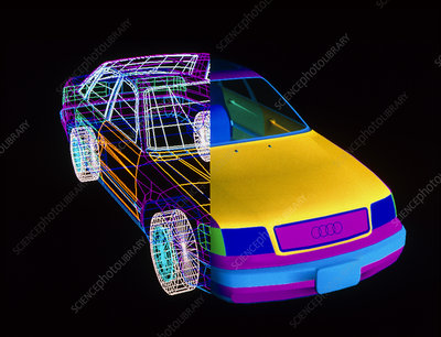 CAD wire frame/volume drawing of Audi 100 car