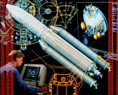 Symbolic image depicting use of CAD in Ariane 5